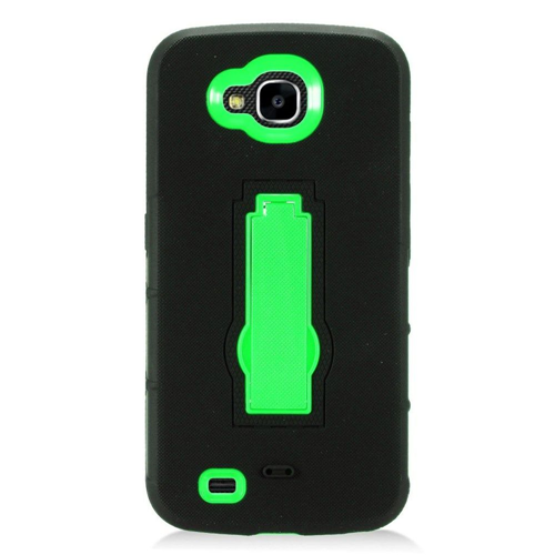 Insten Skin Hybrid Rubber Hard Cover Case w/stand For LG X Venture, Black/Green