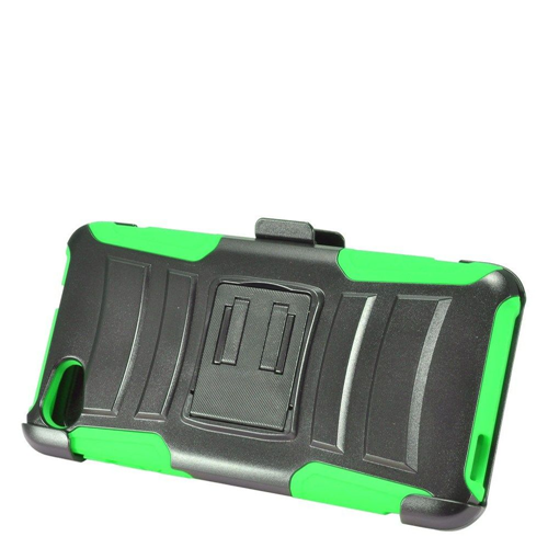 Insten Advanced Armor Hard Hybrid Silicone Case w/stand/Holster For Alcatel Pulsemix, Green/Black
