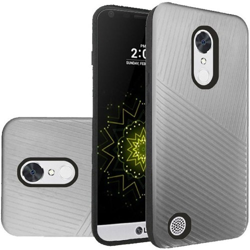 Insten Embossed Lines Hybrid Plastic TPU Case For LG Grace 4G/Harmony/K20 Plus/K20 V, Silver/Black