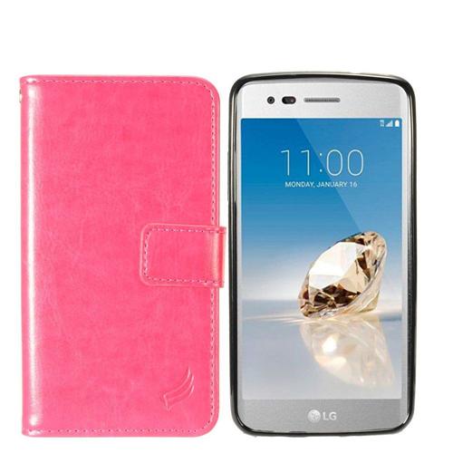 Insten Magnetic Flip Leather Fabric Case For LG Fortune/K4 (2017)/K8 (2017)/LV3/Phoenix 3, Hot Pink