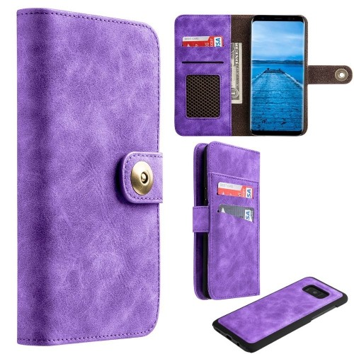 Insten Magnetic Flip Leather Fabric Case w/card holder/Photo Display For Samsung Galaxy S8, Purple