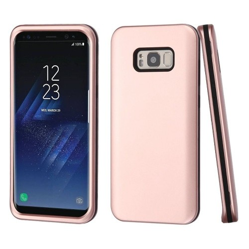 Insten Hard Dual Layer Plastic TPU Case For Samsung Galaxy S8, Rose Gold/Black