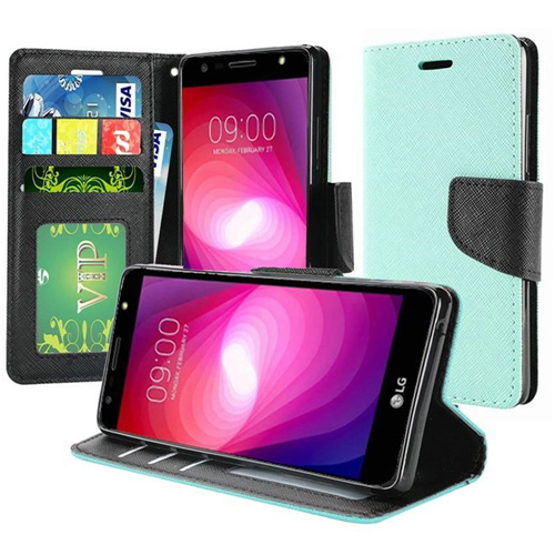 Insten Folio Fabric Case Lanyard w/stand For LG Fiesta LTE/K10 Power/X Charge/X Power 2, Teal