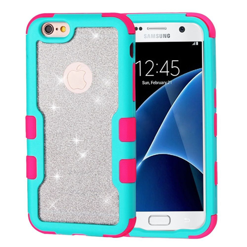 Insten Glitter Hard Hybrid Plastic TPU Case For Samsung Galaxy S7, Teal/Pink