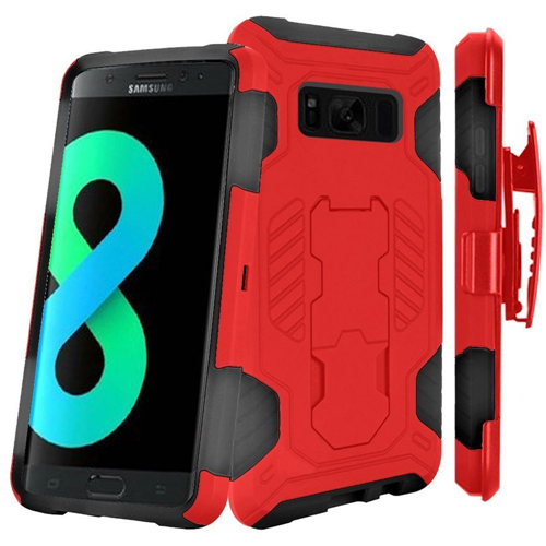 Insten SuperCoil Hard Hybrid Cover Case w/stand/Holster For Samsung Galaxy S8 Plus, Red/Black