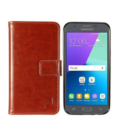 Insten Magnetic Flip Leather Case For Samsung Galaxy Amp Prime 2/J3 (2017)/J3 Emerge, Brown