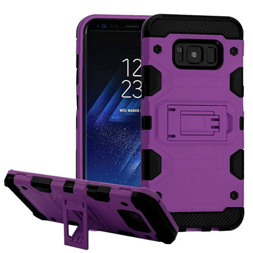 Insten Storm Tank Hard Hybrid Plastic TPU Case w/stand For Samsung Galaxy S8, Purple/Black