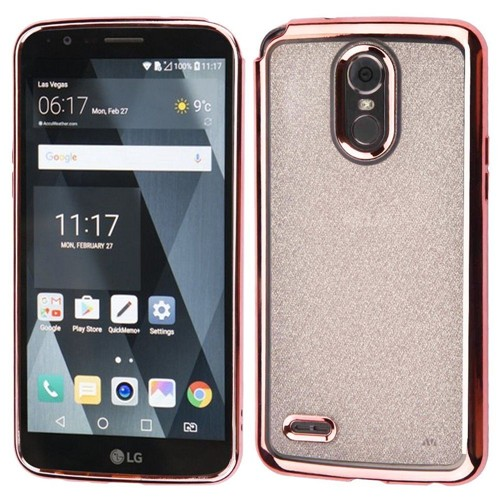 Insten Glitter Hard Dual Layer Plastic Case For LG Stylo 3/Stylo 3 Plus, Rose Gold