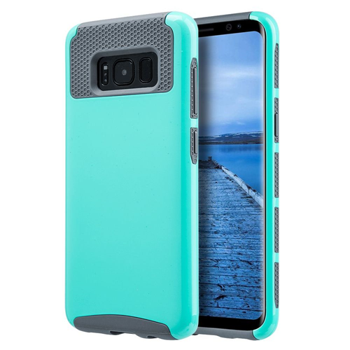 Insten Glossimer UV Coating Hard Hybrid Plastic TPU Cover Case For Samsung Galaxy S8, Teal/Gray