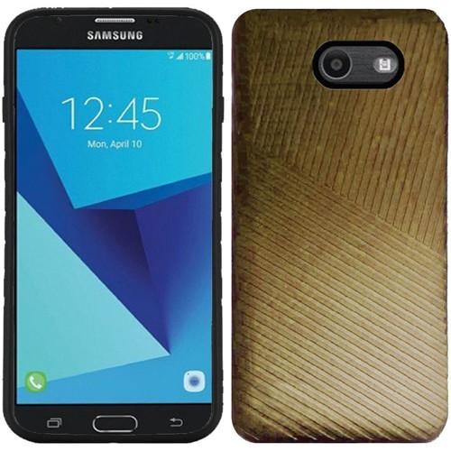Insten Embossed Lines Hard Case For Samsung Galaxy Halo/J7 (2017)/J7 Perx/J7 Prime, Gold