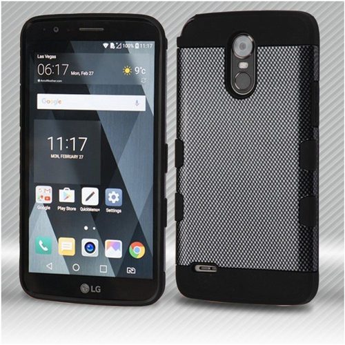 Insten Carbon Fiber Hard Hybrid Plastic TPU Cover Case For LG Stylo 3, Gray/Black