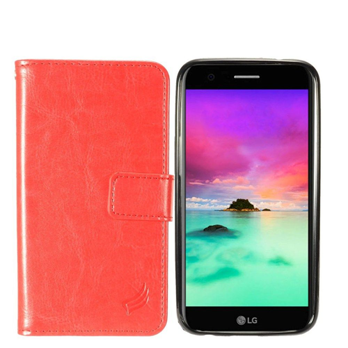 Insten Magnetic Book-Style Leather Fabric Case For LG Harmony/K10 (2017)/K20 Plus/K20 V, Red