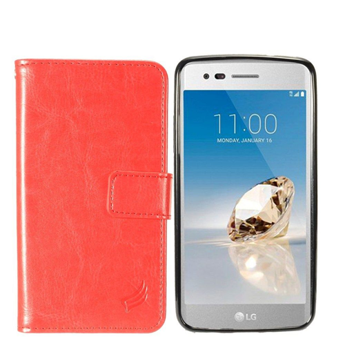 Insten Magnetic Book-Style Leather Fabric Case For LG Fortune/K4 (2017)/K8 (2017)/LV3/Phoenix 3, Red