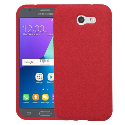 Insten Frosted Spot Rubber Case For Samsung Galaxy Amp Prime 2/J3 (2017)/J3 Emerge, Red