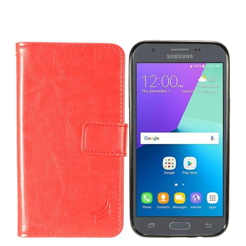 Insten Magnetic Book-Style Leather Case For Samsung Galaxy Amp Prime 2/J3 (2017)/J3 Emerge, Red