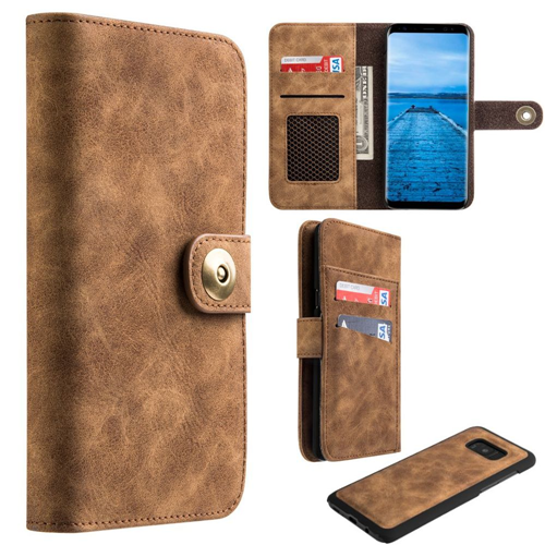 Insten Magnetic Flip Leather Fabric Case w/card slot/Photo Display For Samsung Galaxy S8 Plus, Brown