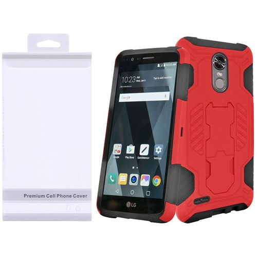 Insten SuperCoil Hard Dual Layer Plastic TPU Case w/stand For LG Stylo 3/Stylo 3 Plus, Red/Black