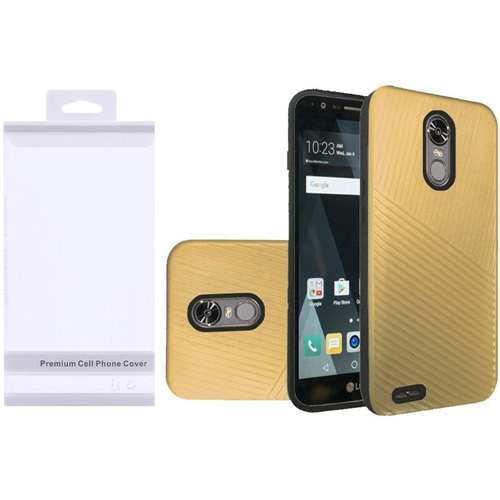 Insten Embossed Lines Hard Dual Layer Plastic TPU Cover Case For LG Stylo 3/Stylo 3 Plus, Gold/Black
