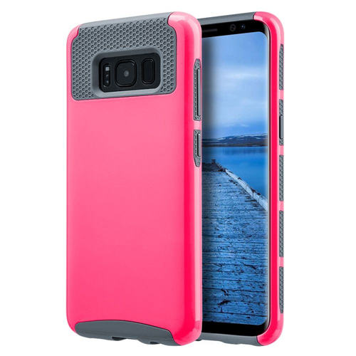 Insten Glossimer UV Coating Hard Dual Layer TPU Cover Case For Samsung Galaxy S8, Hot Pink/Gray