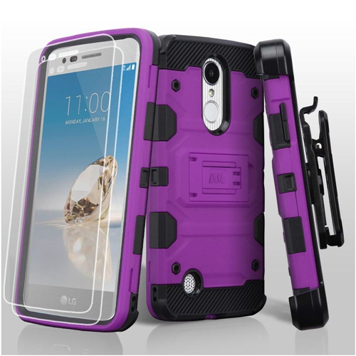 Insten Storm Tank Hard Case For LG Aristo/Fortune/K4 (2017)/K8 (2017)/LV3/Phoenix 3, Purple
