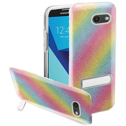 Insten Glitter Rainbow Hard Case For Samsung Galaxy Halo/J7 (2017)/J7 Perx/J7 Prime, Colorful