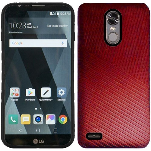 Insten Embossed Lines Hard Dual Layer Plastic TPU Cover Case For LG Stylo 3/Stylo 3 Plus, Red/Black