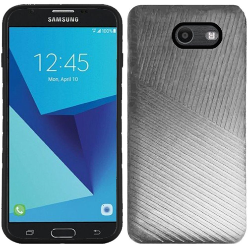 Insten Embossed Lines Hard Case For Samsung Galaxy Halo/J7 (2017)/J7 Perx/J7 Prime, Silver