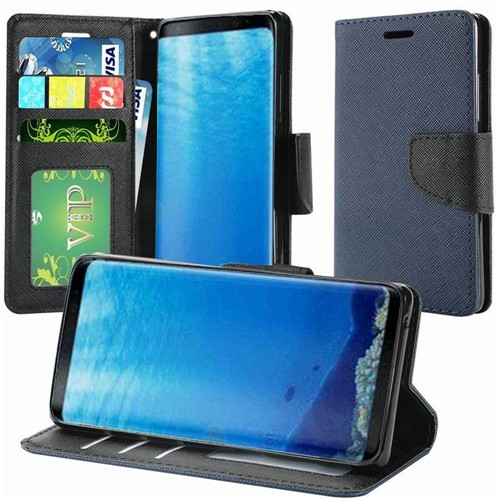 Insten Folio Leather Fabric Case w/stand/card slot/Photo Display For Samsung Galaxy S8, Dark Blue