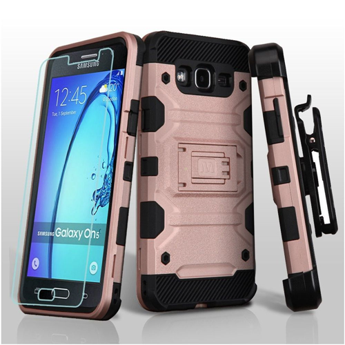 Insten Storm Tank Hard Hybrid TPU Case w/stand/Holster For Samsung Galaxy On5, Rose Gold/Black