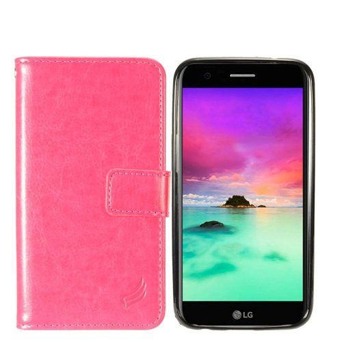 Insten Magnetic Book-Style Leather Fabric Case For LG Harmony/K10 (2017)/K20 Plus/K20 V, Hot Pink