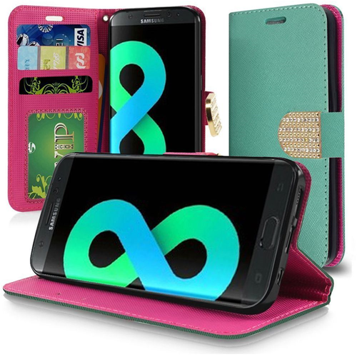 Insten Flip Leather Fabric Case Lanyard w/stand/card slot/Diamond For Samsung Galaxy S8 Plus, Teal