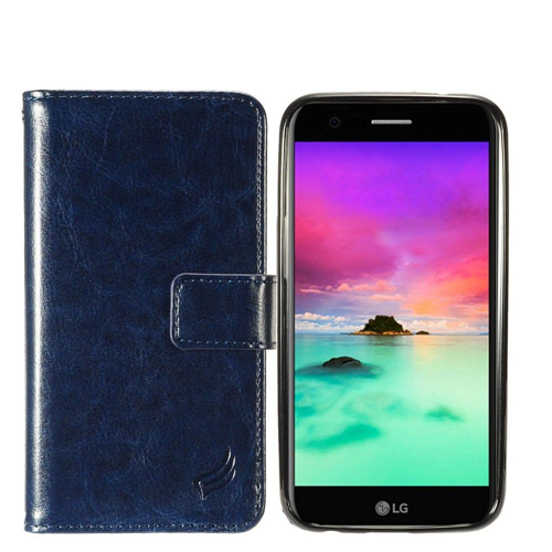 Insten Magnetic Flip Leather Fabric Case w/card slot For LG Harmony/K10 (2017)/K20 Plus/K20 V, Navy