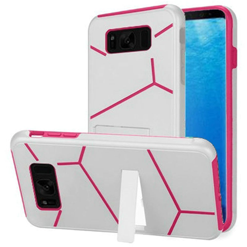 Insten Hard Hybrid Plastic TPU Cover Case w/stand For Samsung Galaxy S8, White/Hot Pink