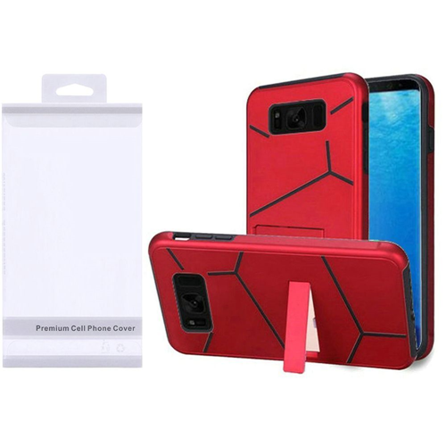 Insten Hard Hybrid Plastic TPU Cover Case w/stand For Samsung Galaxy S8, Red/Black