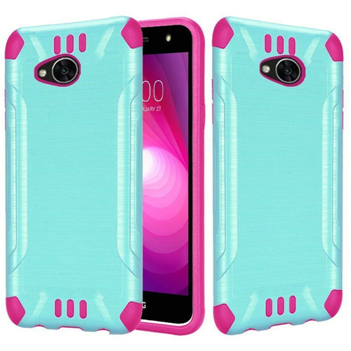 Insten Slim Armor Hard Brushed TPU Case For LG Fiesta LTE/K10 Power/X Charge, Teal/Hot Pink