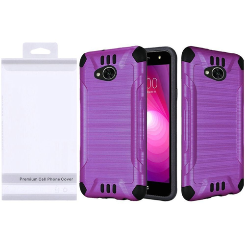 Insten Slim Armor Hard Brushed TPU Case For LG Fiesta LTE/K10 Power/X Charge/X Power 2, Purple/Black
