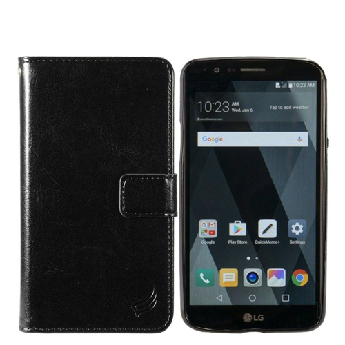 Insten Magnetic Folio Leather Fabric Case w/card holder For LG Stylo 3/Stylo 3 Plus, Black