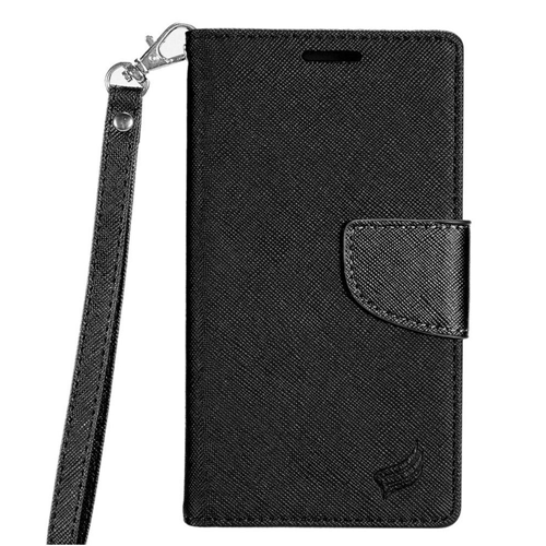 Insten Book-Style Leather Fabric Case Lanyard w/stand/card slot/Photo Display For LG G6, Black