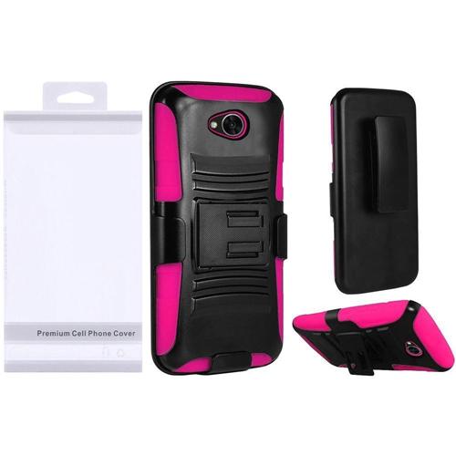 Insten Wave Symbiosis Hybrid Plastic Case For LG Fiesta LTE/K10 Power/X Charge, Black/Hot Pink