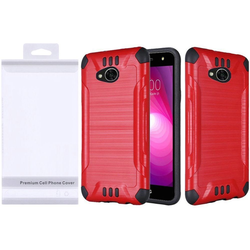 Insten Slim Armor Hybrid Brushed TPU Case For LG Fiesta LTE/K10 Power/X Charge/X Power 2, Red/Black