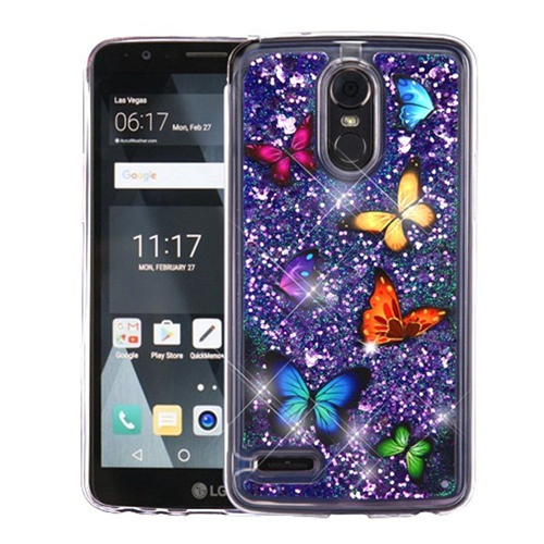 Insten Quicksand Glitter Butterflies Hard Plastic TPU Case For LG Stylo 3/Stylo 3 Plus, Multi-Color