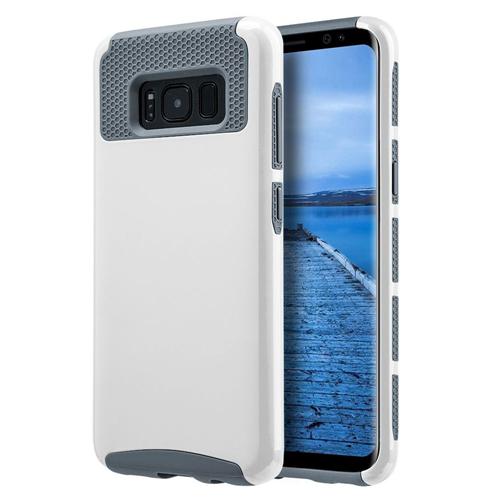 Insten Glossimer UV Coating Hard Dual Layer Plastic TPU Case For Samsung Galaxy S8, White/Gray