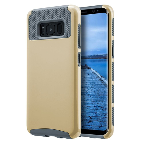 Insten Glossimer UV Coating Hard Hybrid Plastic TPU Cover Case For Samsung Galaxy S8, Gold/Gray