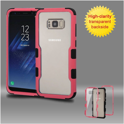 Insten Hard Dual Layer Transparent Plastic TPU Cover Case For Samsung Galaxy S8, Pink/Black