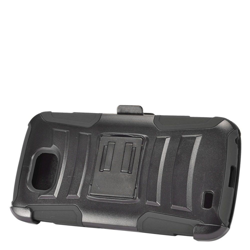 Insten Advanced Armor Hard Hybrid Plastic Silicone Case w/stand/Holster For LG X Venture, Black