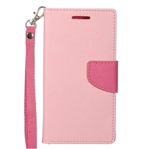 Insten Flip Leather Fabric Case Lanyard w/stand/card holder/Photo Display For LG G6, Pink/Hot Pink