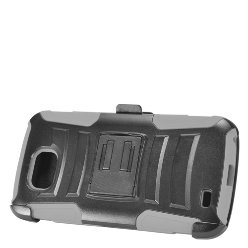 Insten Advanced Armor Hard Hybrid Silicone Cover Case w/stand/Holster For LG X Venture, Gray/Black
