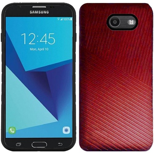 Insten Embossed Lines Hard Case For Samsung Galaxy Halo/J7 (2017)/J7 Perx/J7 Prime, Red