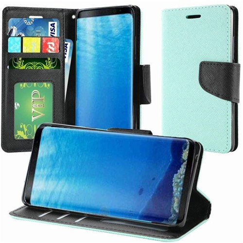 Insten Folio Leather Fabric Case w/stand/card slot/Photo Display For Samsung Galaxy S8, Teal
