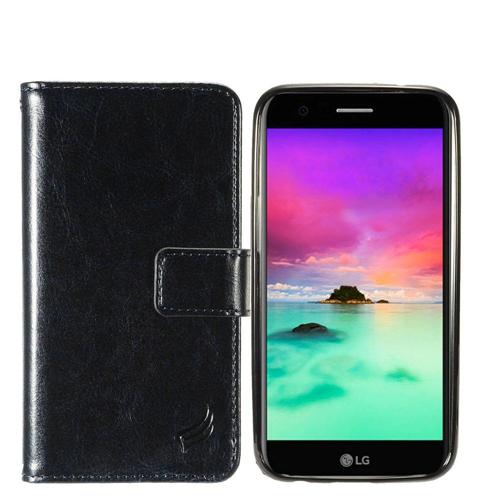 Insten Magnetic Flip Leather Fabric Case w/card slot For LG Harmony/K10 (2017)/K20 Plus/K20 V, Black